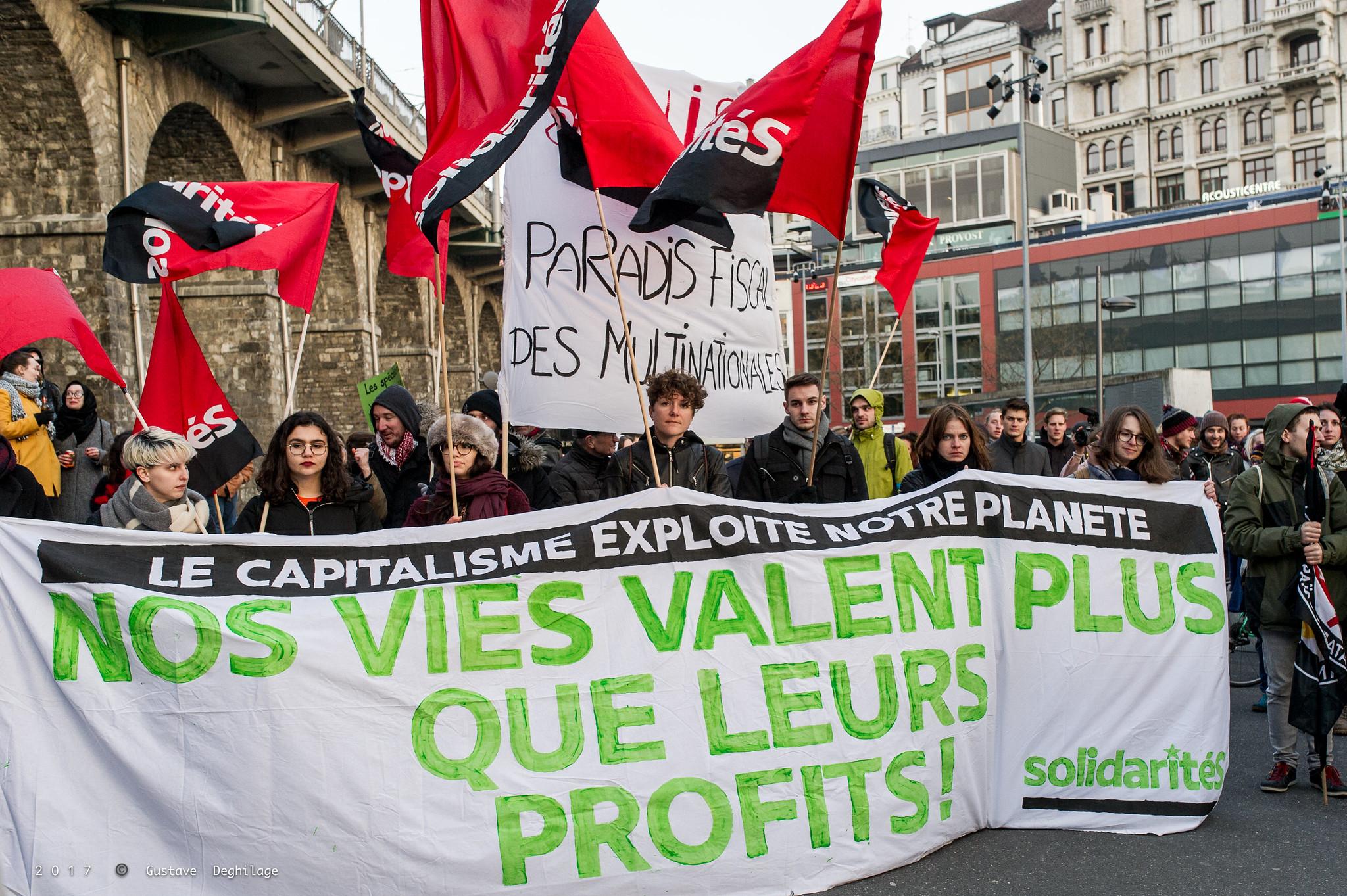 Manifestation contre le 'Sommet mondial des matières premières (Global Commodities Summit), Lausanne, 19 mars 2018.