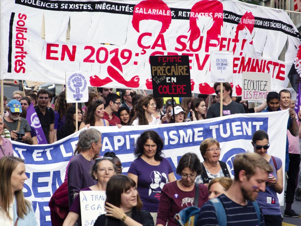 solidariteS lors de la grève féministe, Lausanne 14 juin 2019