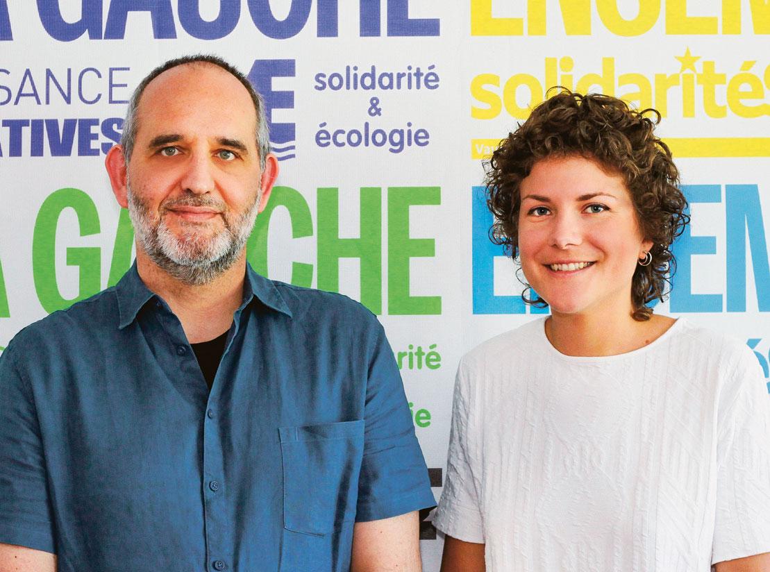 Yvan Luccarini (Décroissance-Alternatives) et Franziska Meinherz (solidaritéS). Photo: Sandrine Gutierrez Grise