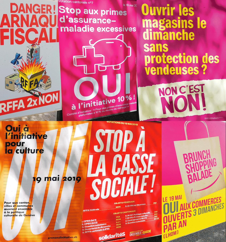 Affiches votations Genève mai 2019