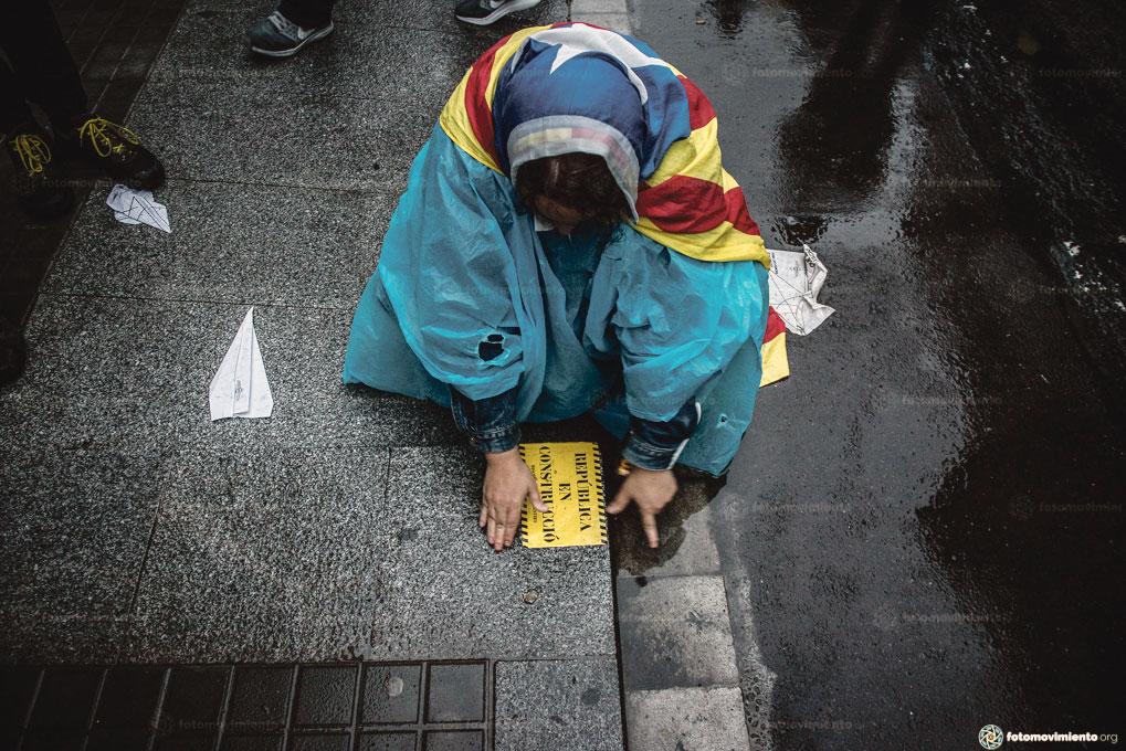 Manifestation à l'occasion de l'anniversaire du référendum en Catalogne, Barcelone, octobre 2018