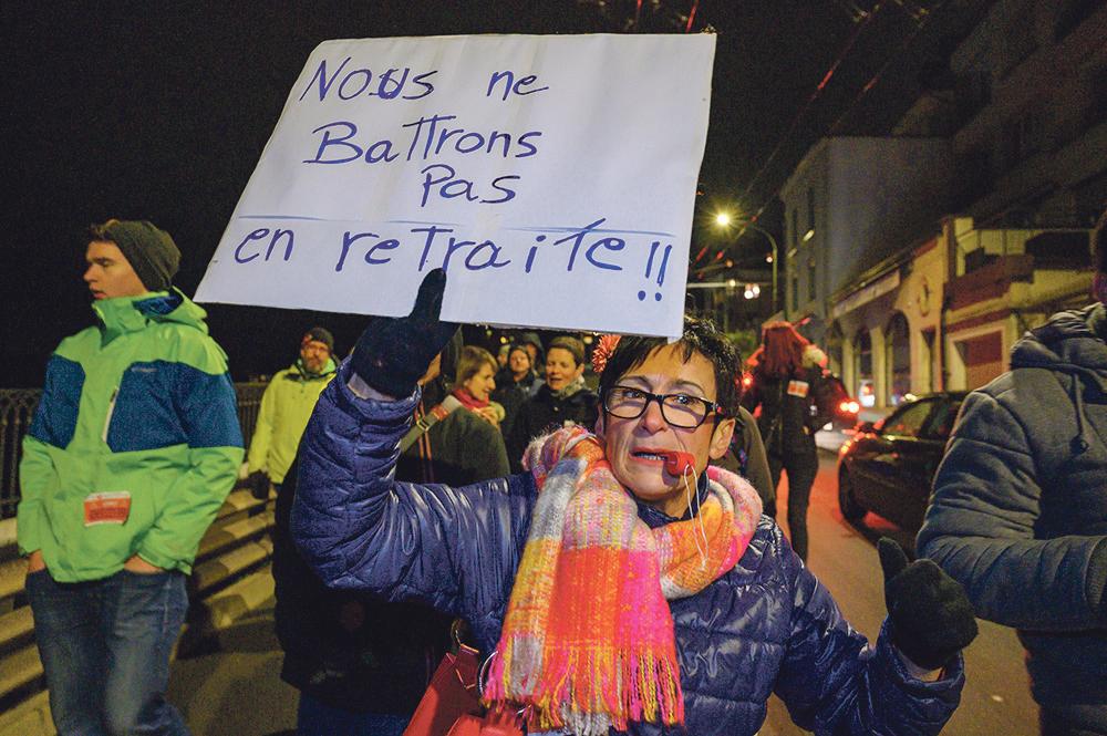 Manifestation contre le projet d'assainissement de la Caisse de prévoyance du Personnel de l'État de Fribourg. 7 novembre 2019.
