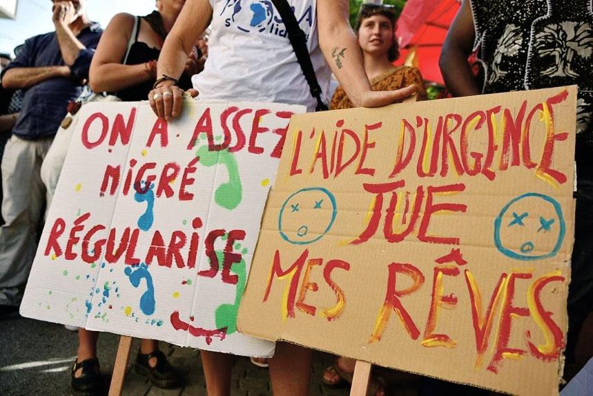 Manifestation en soutien aux refugiés, Fribourg. Photo: Eric Roset