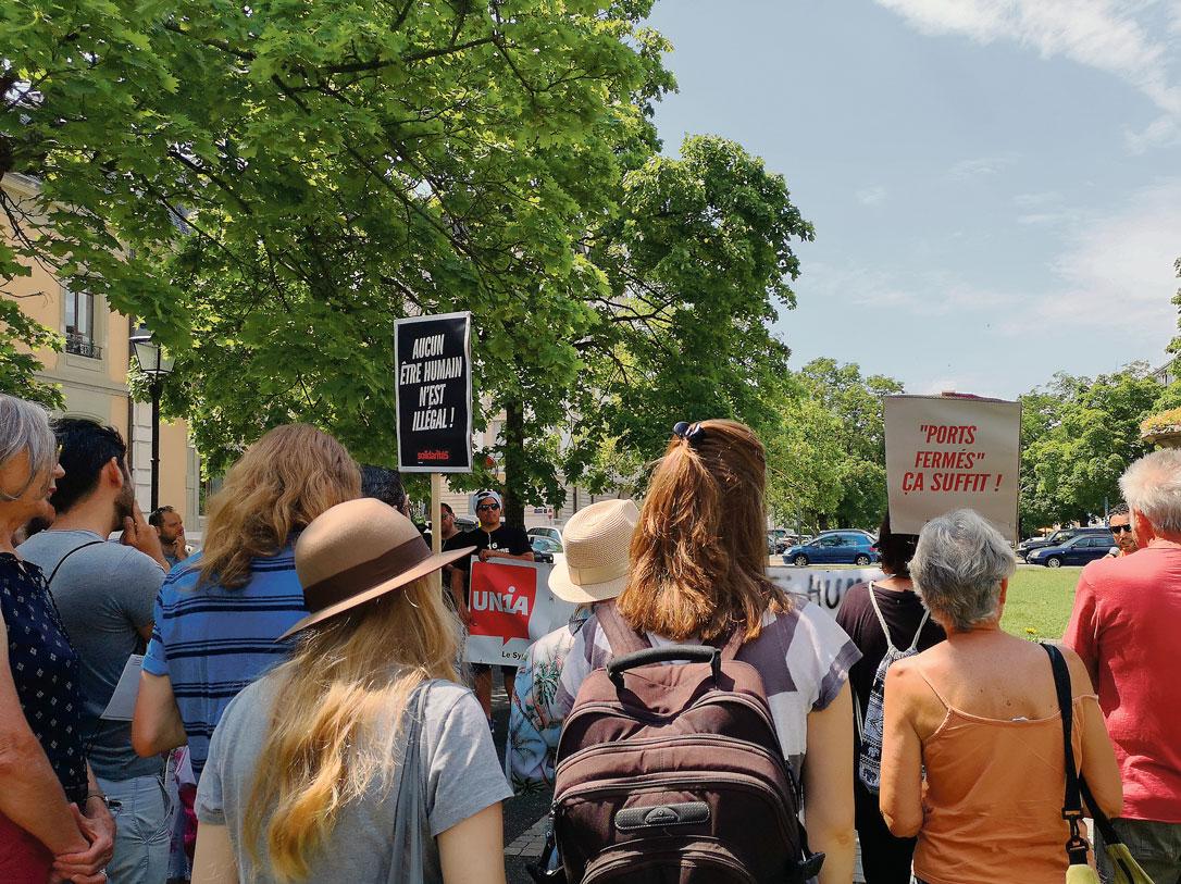 Rassemblement en solidarité avec Carola Rakete, Genève, 3 juillet 2019
