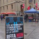 Stand de campagne contre RFFA, Lausanne