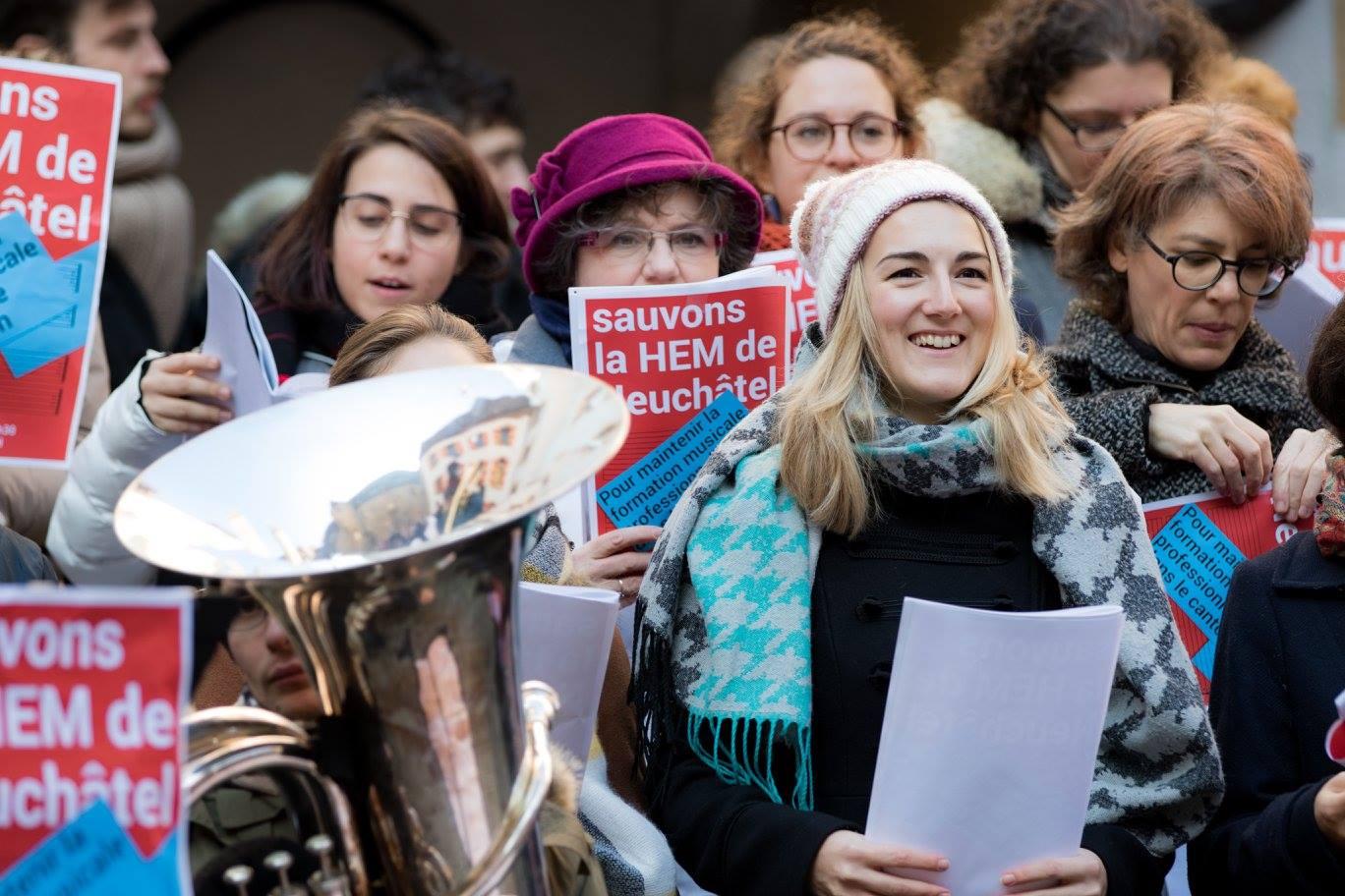 """Manifestation """"Sauvons la Haute école de musique de Neuchâtel"""", 7 décembre 2017"""