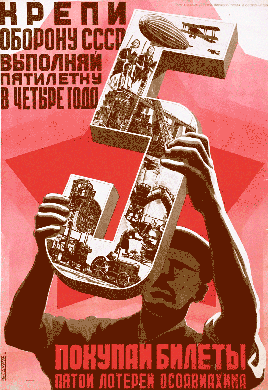 Affiche 1er plan quinquennal URSS 1929