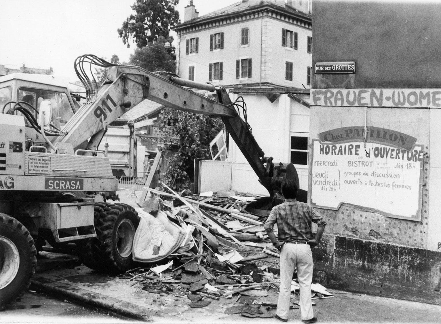 Destruction du Centre femmes du MLF, Genève, 1976