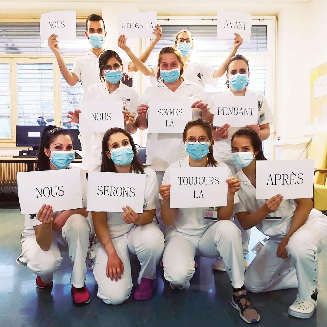 Message d'infirmières du CHUV: Nous étions là avant, nous sommes là pendant, nous serons toujours là après, mars 2020