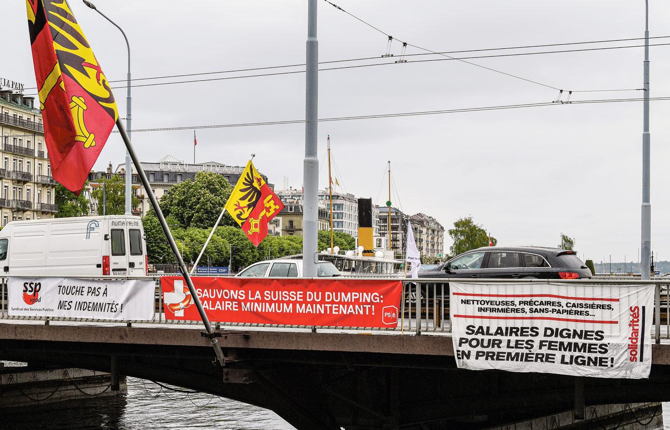 1er Mai 2020, Genève, banderoles