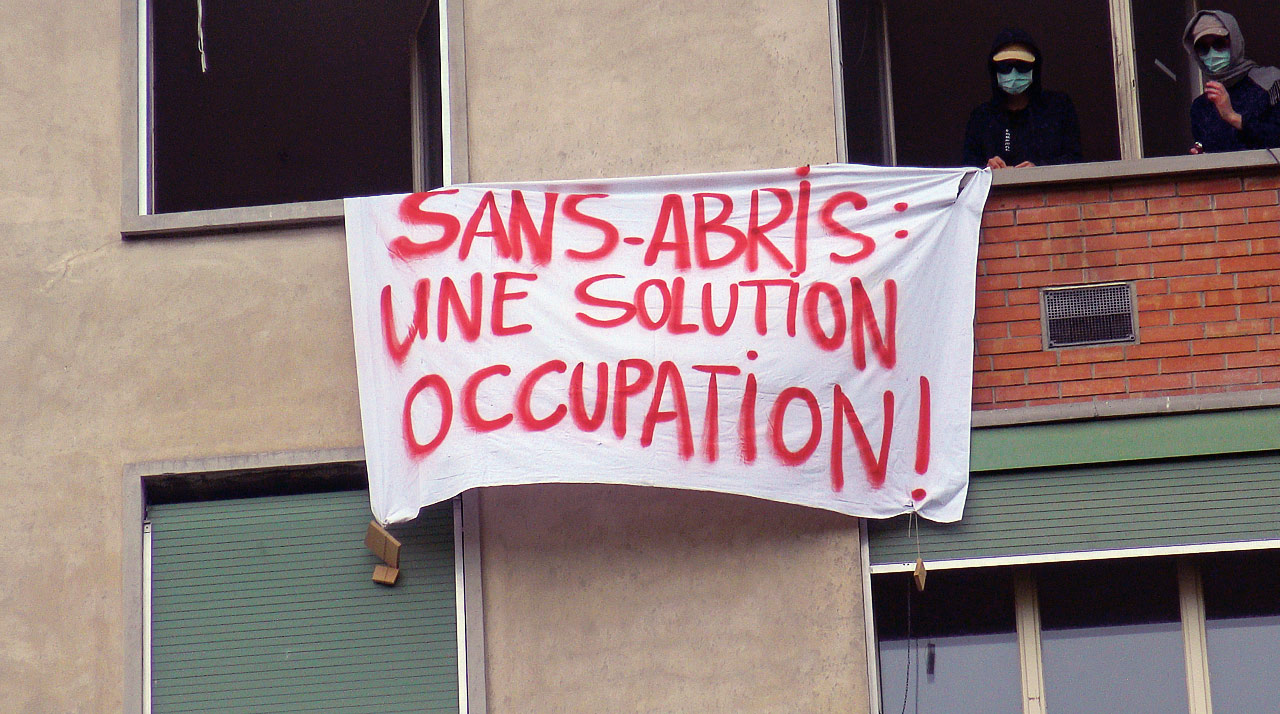 Occupation par le collectif Réquisitions solidaires, Genève, mai 2020