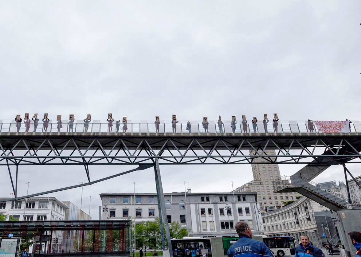 Action climat à Lausanne lors de la journée du 15 mai.