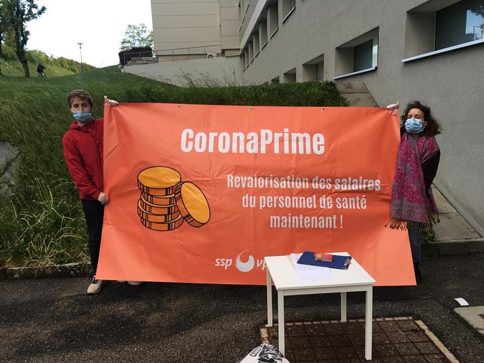 Action CoronaPrime devant l'hôpital fribourgeois, 1er mai 2020