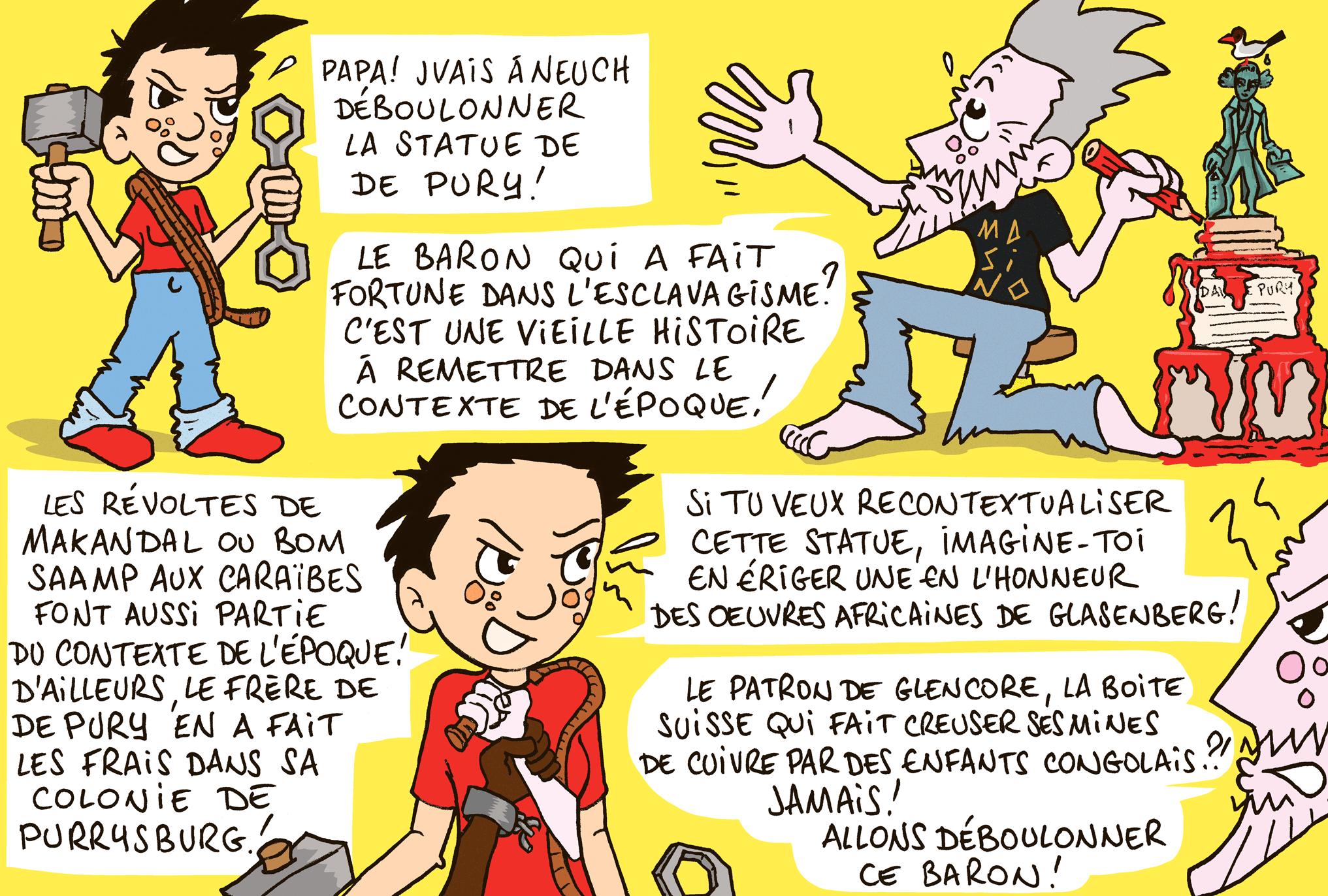 Dessin humoristique de Masino: faut-il déboulonner la statue de De Pury?