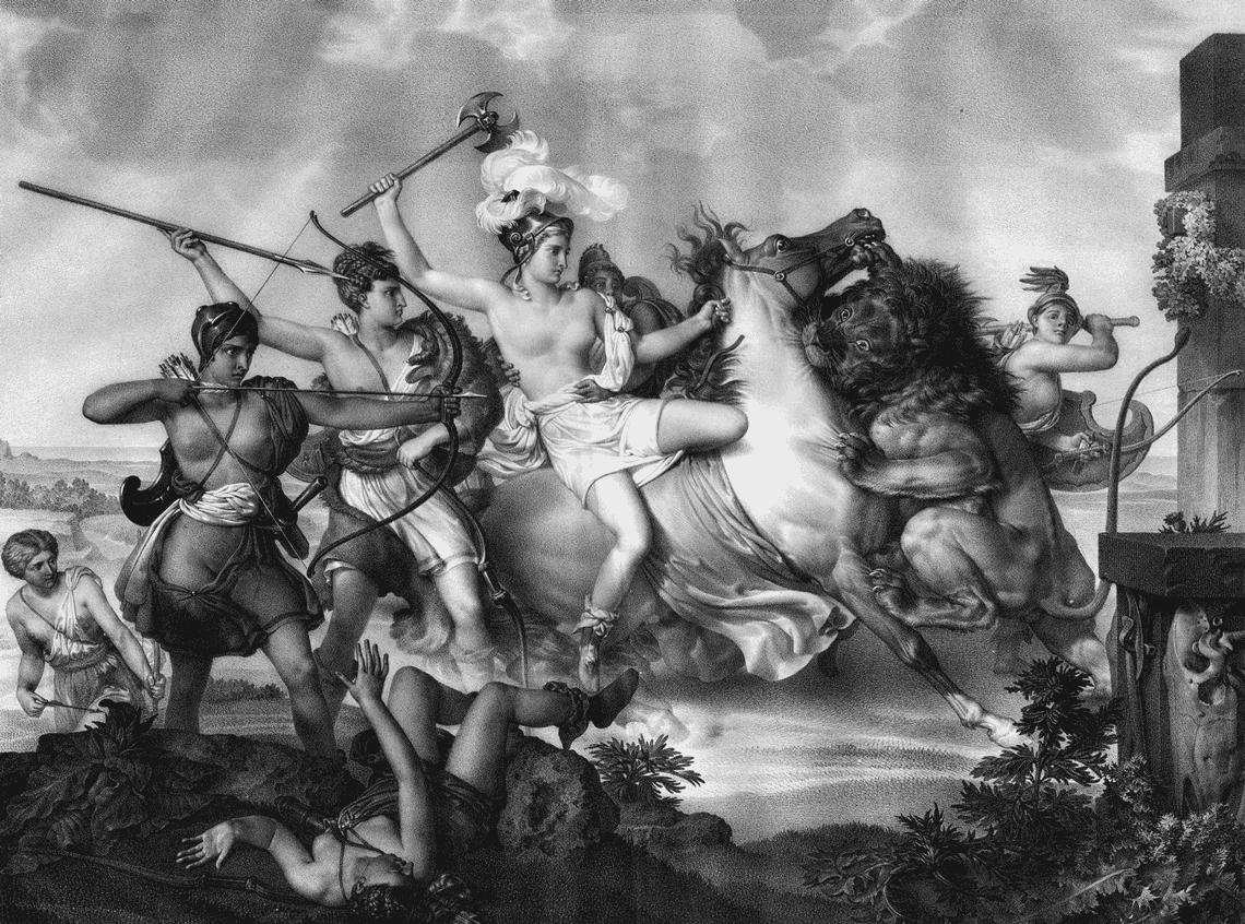 Gravure de Nicolas Henri Jacob, Hippolyte, reine des Amazones assaillie par un lion, 1824
