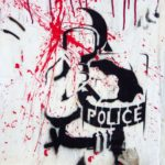 Pochoir d'un officier de police antiémeute