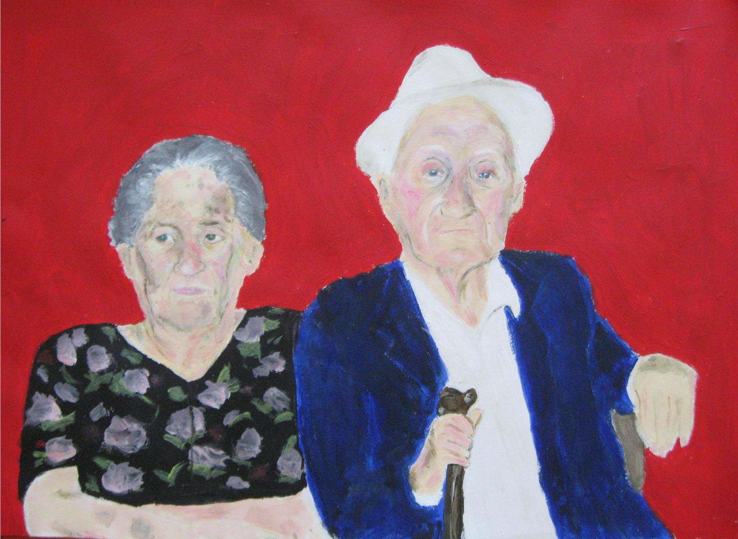 Peinture d'un couple de retraités