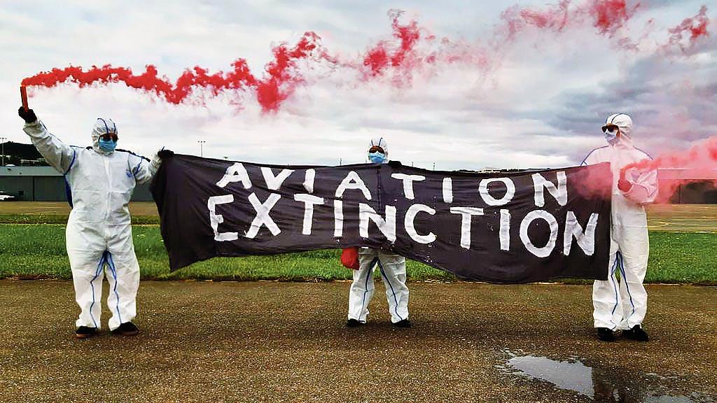 Action Extinction Rebellion Aéroport de la Blécherette, Lausanne, juillet 2020