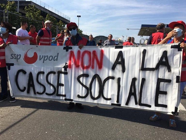 Manifestation à l'aéroport de Genève, 11 septembre 2020