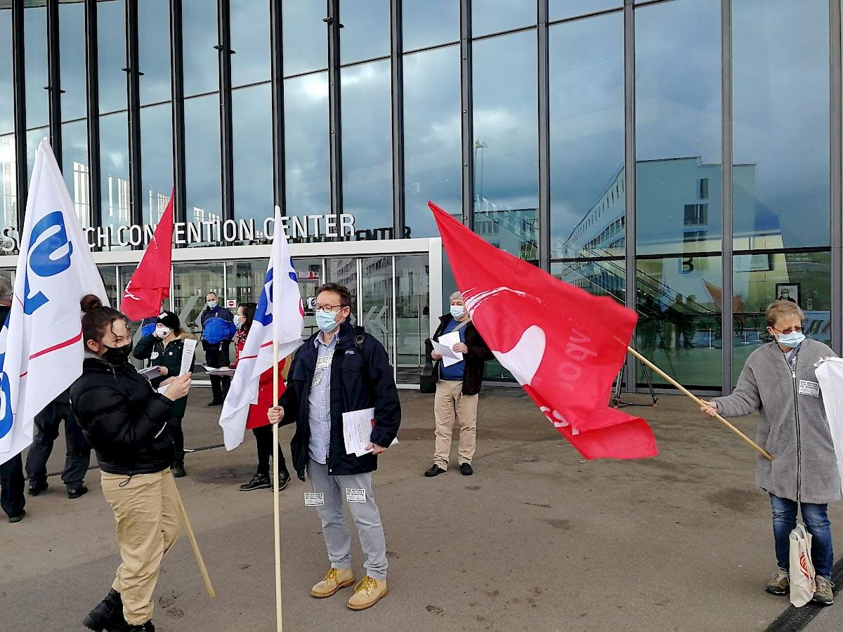 Action du SSP Vaud devant le Grand Conseil, 1er décembre 2020