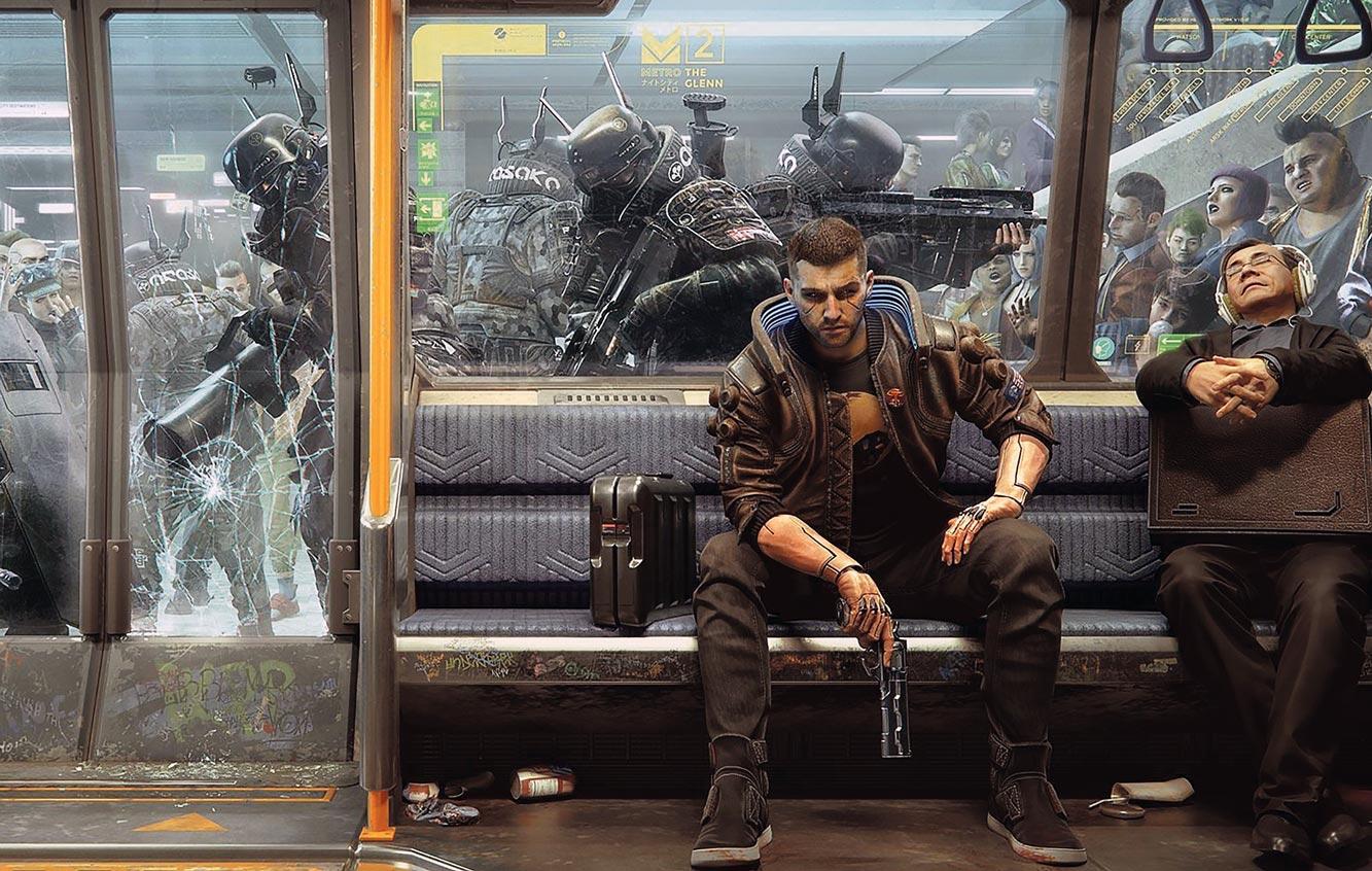 V assis dans un métro attaqué par l'Arasaka