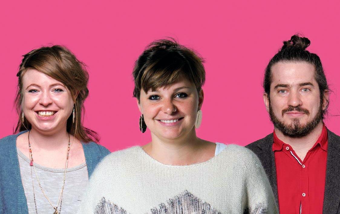Solenn Ochsner, Zoé Bachmann et Dimitri Paratte, candidat·e·s au Grand conseil neuchâtelois
