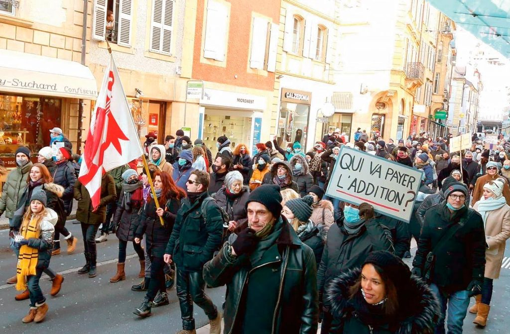 Manifestation anticonfinement, Neuchâtel, 13 février 2021