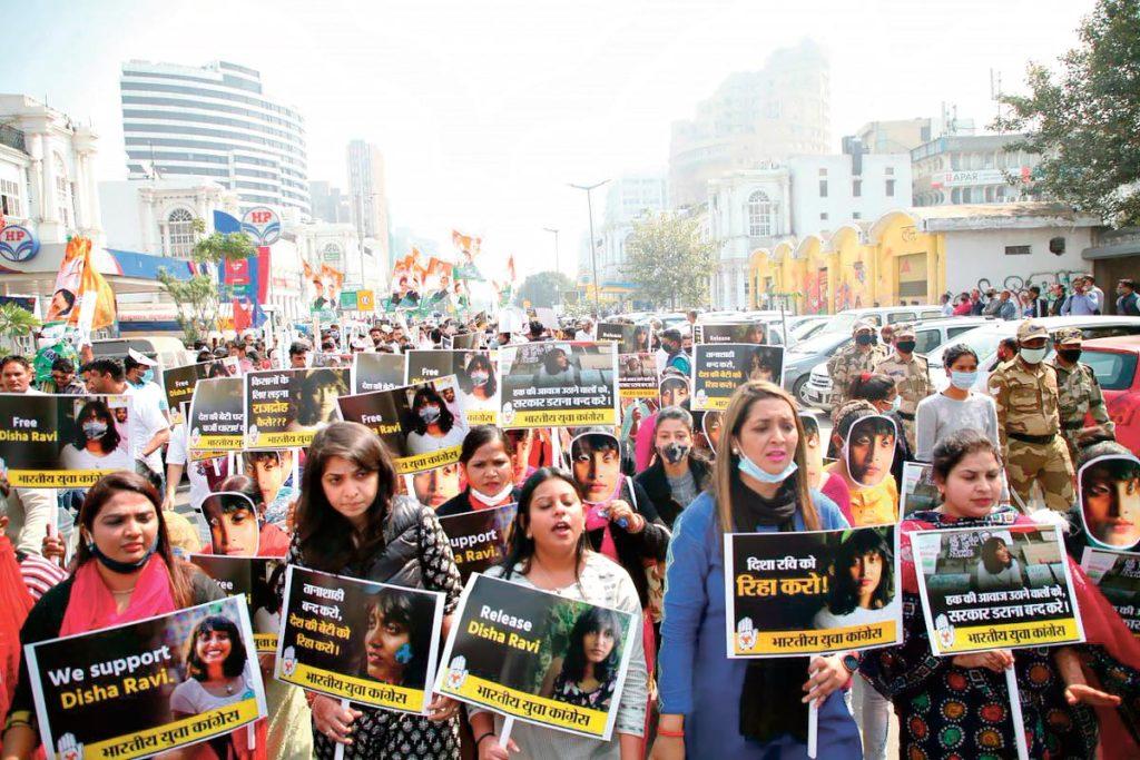 Manifestation pour la libération de Disha Ravi, Delhi, 21 février 2021
