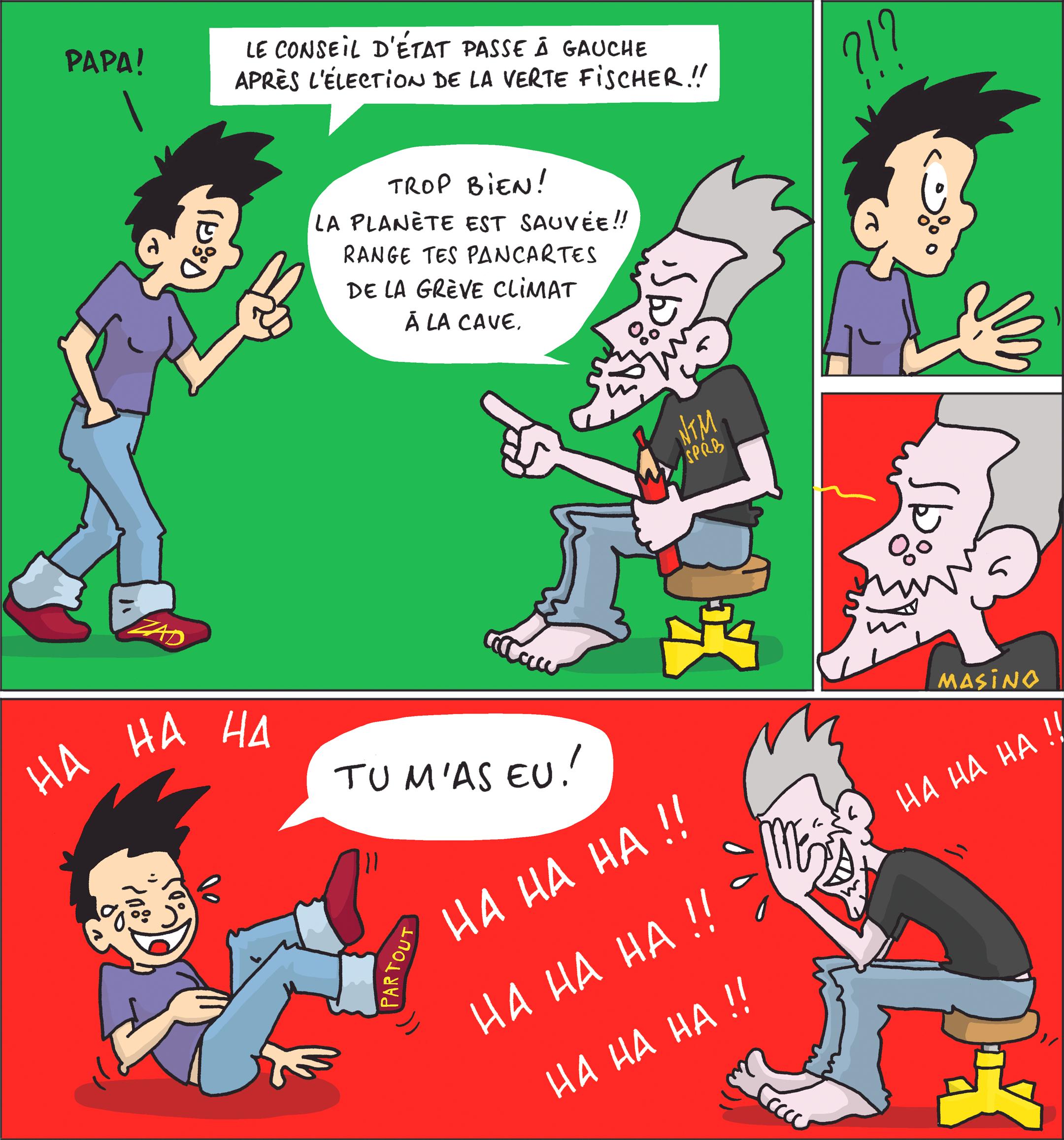 Bande dessinée de Masino à propos de l'élection de Fabeinne Fischer