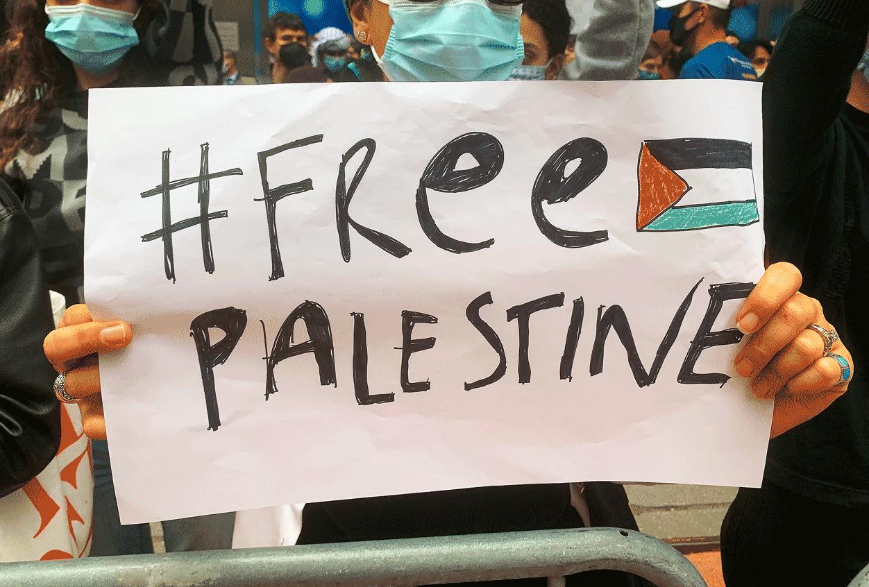 "Une manifestante tient un panneau ""Free Palestine"""