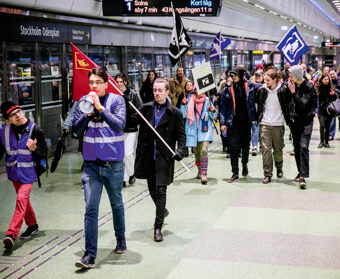Action du mouvement Panka Nu pour la gratuité des transports publics dans le métro de Stockholm