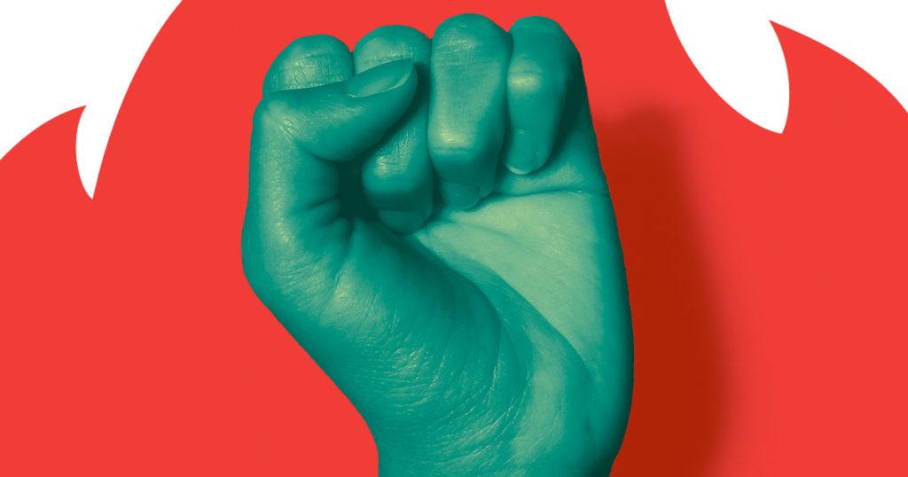 Poing levé Grève pour l'avenir