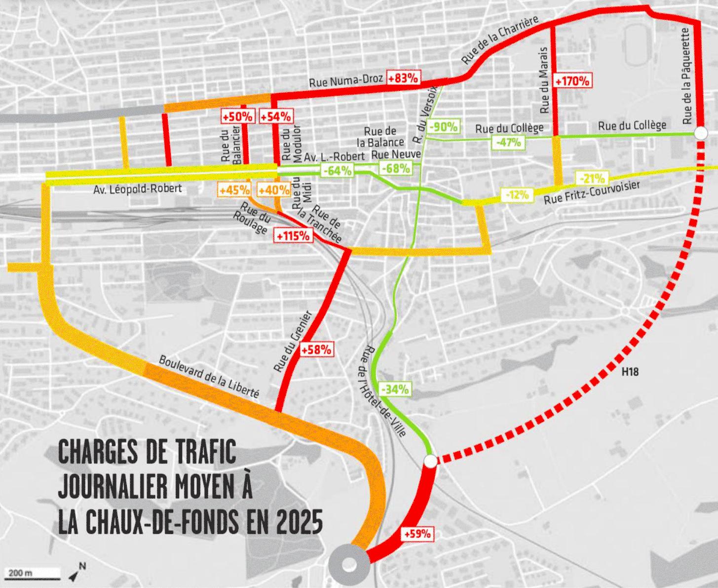 Plan de l'impact du contournement sur le trafic à la Chaux-de-Fonds