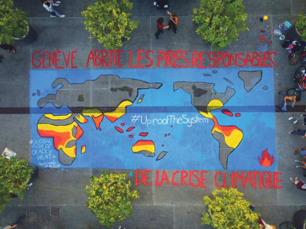 Fresque illustrant le réchauffement climatique